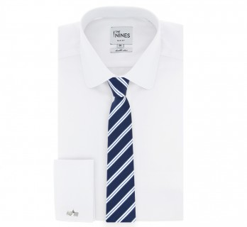 Navy Blue tie with white and blue stripes The Nines