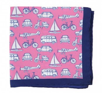 Pink pocket square with white cars, vans, plane, sailboats and bikes The Nines