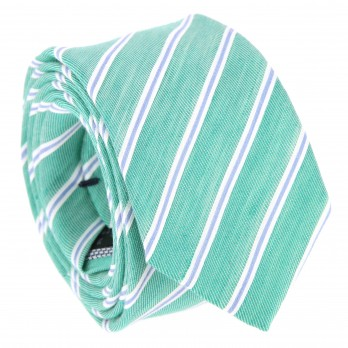 Emerald green tie with stripes The Nines