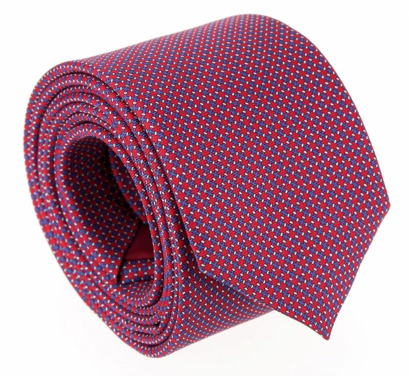 The Nines Red Tie with Square Pattern - Savone