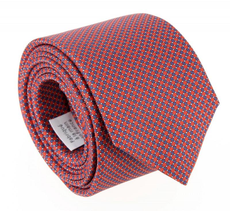 The Nines Orange Tie with Square Pattern - Savone
