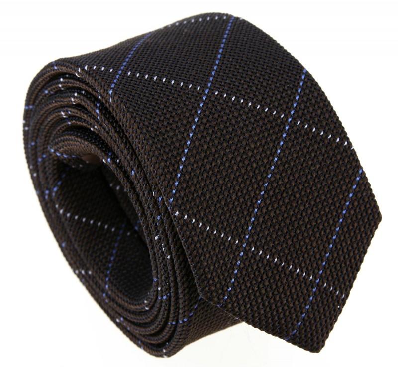 Brown Grenadine Silk with Blue tartan pattern The Nines Tie - Grenadines IV