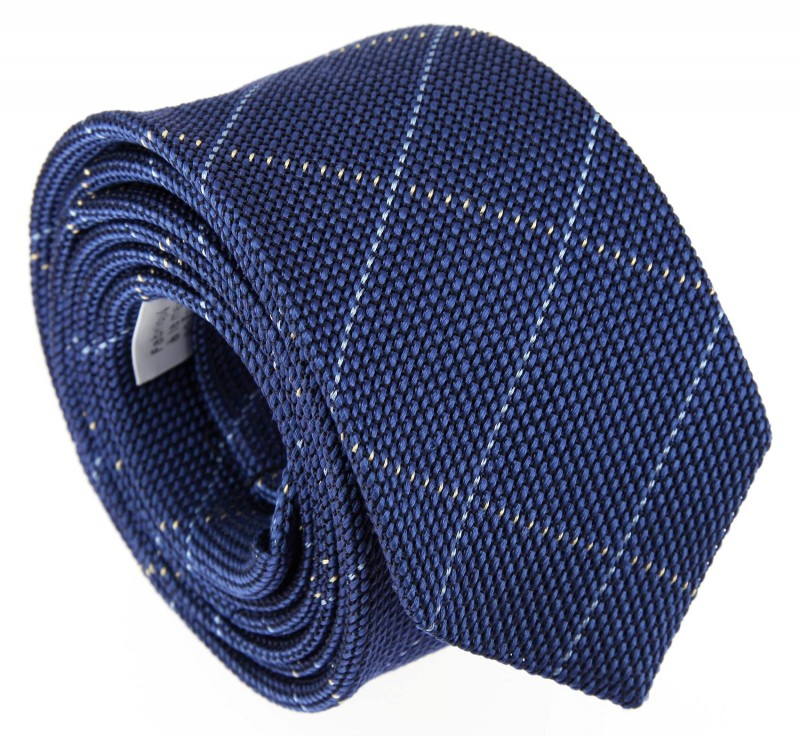 Blue Grenadine Silk with Lightblue tartan pattern The Nines Tie - Grenadines IV