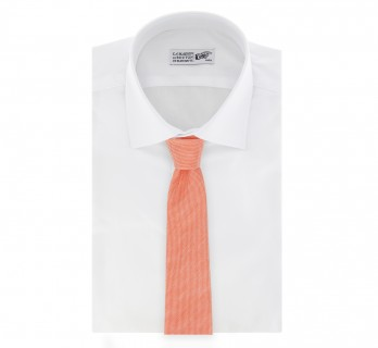 Light Orange Basket Weave Linen and Silk Tie - Parme