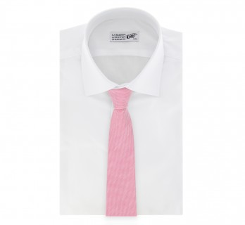 Light Pink Basket Weave Linen and Silk Tie - Parme