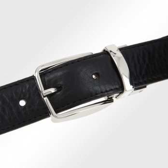 THE NINES FINE REVERSIBLE BLACK AND BROWN BELT WITH CURVED ANGLE BUCKLE