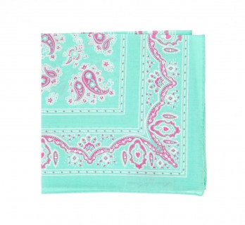 Aqua Green Paisley Pattern Cotton Pocket Square - Cachemire