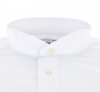 Regular Fit White Poplin Wing Collar French Cuff Shirt for Bow Tie