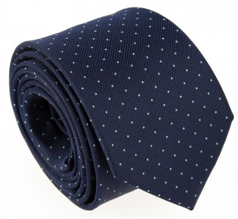 Navy Blue Tie with Small Aqua Green Polka Dots - Washington II
