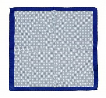 Blue Pocket Square With Lightblue Square Pattern - Portofino