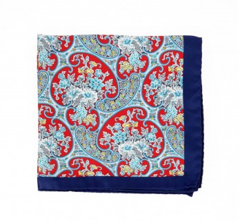 Red Pocket Square with Arabesque Pattern - Benevento