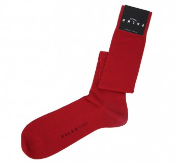 Red scottish lisle thread knee high socks by Falke