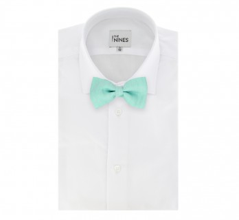 Aqua Green Basket Weave Linen and Silk Bow Tie - Parme