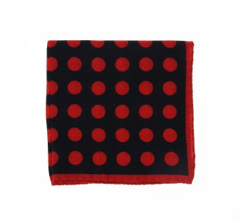 Navy Blue Wool Pocket Square with Red Polka Dots Pattern - Forli