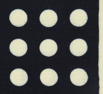 Dark Blue Wool Pocket Square with Beige Polka Dots Pattern - Forli