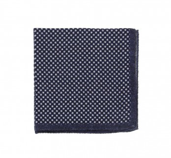 Navy Blue Wool Pocket Square with Square Pattern - Foggia II