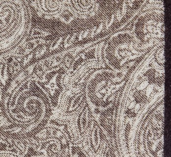 Brown Wool Paisley Pocket Square - Bardi II