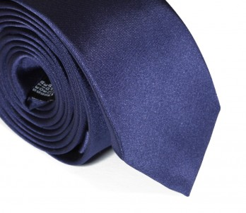 Dark Blue Narrow Satin Tie - Cortenova