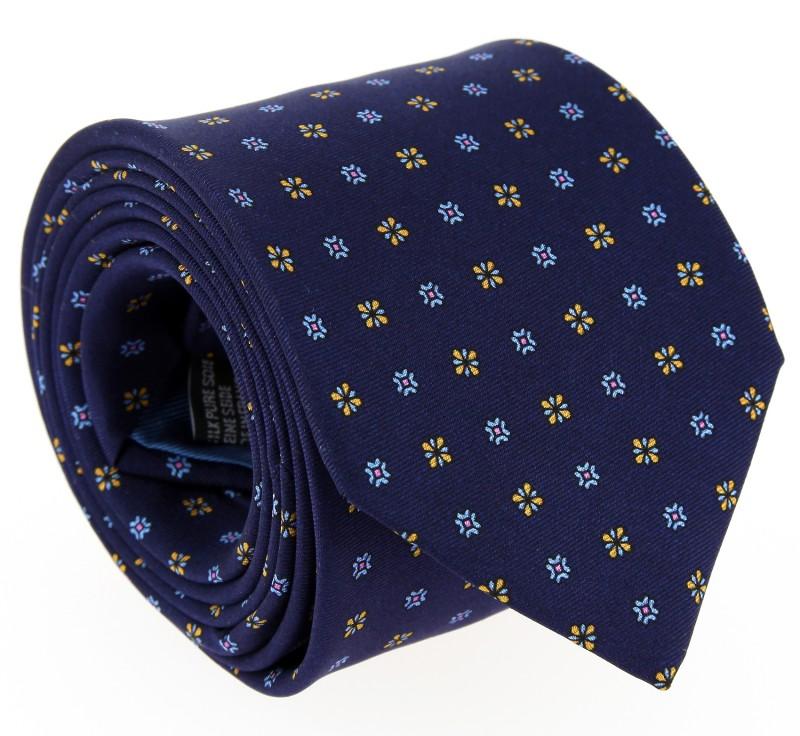 Navy Blue Flower Pattern Tie - Vence