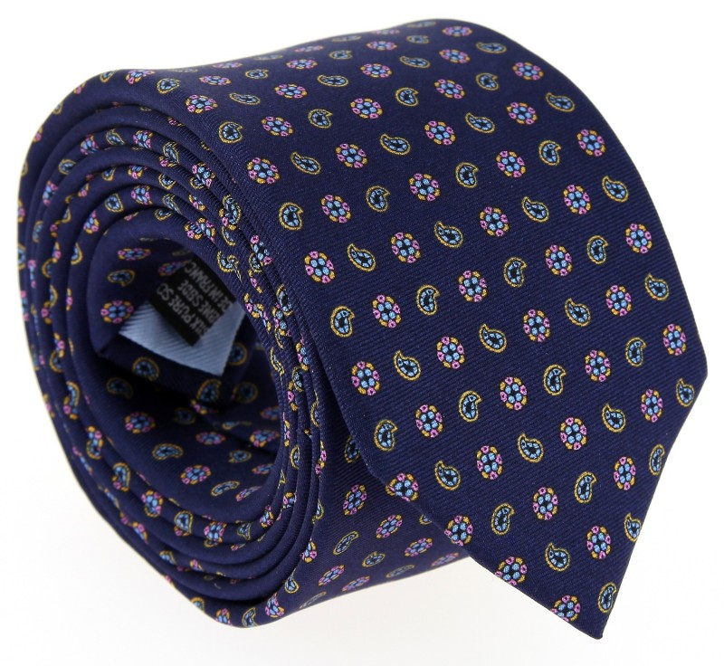 Navy Blue The Nines Tie with Pattern - Vence IV