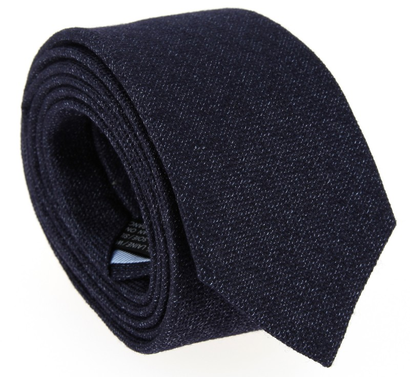 Navy Blue Basket Weave Wool and Silk The NinesTie - Saint Herblain
