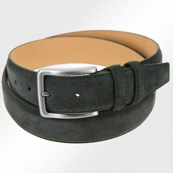Men's belt in forest green suede - Tom II