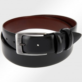 Leather belt in black with brushed buckle - The Nines