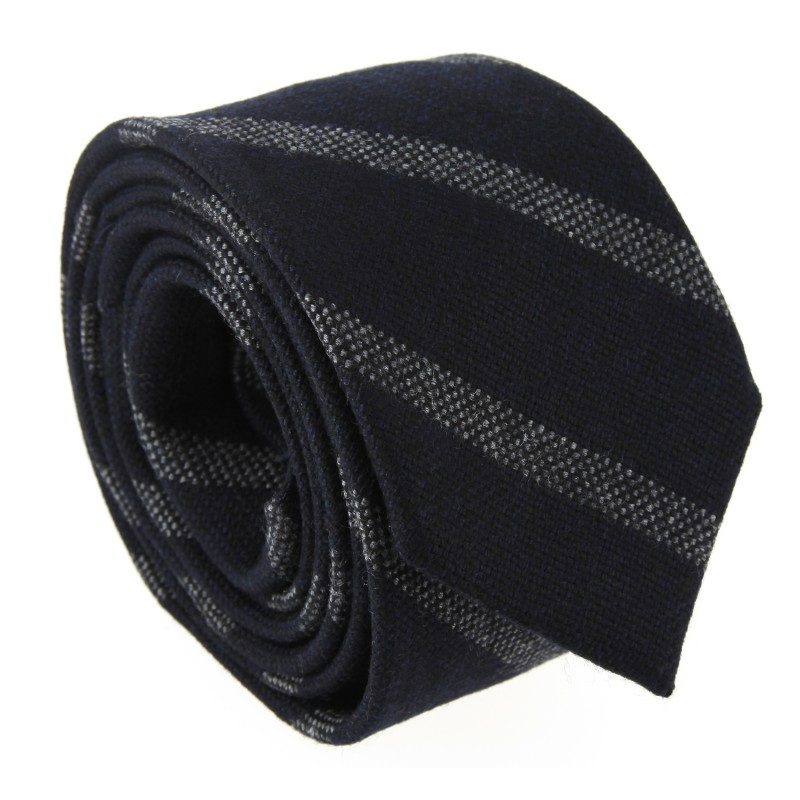 Navy Blue Wool The Nines Tie with Stripes - Wexford II