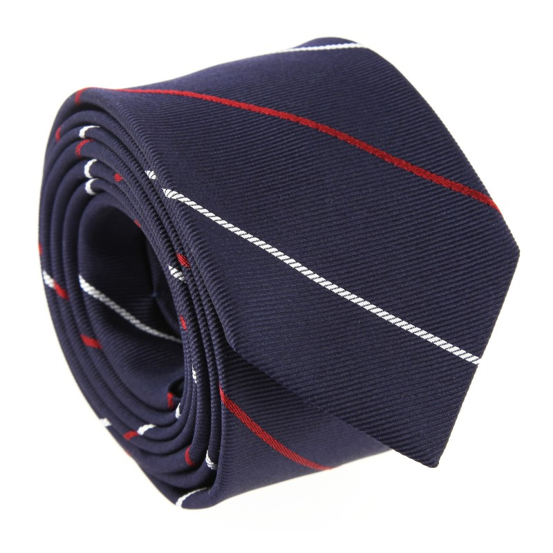 Navy Blue with White and Red Stripes The Nines Narrow Tie - New York II