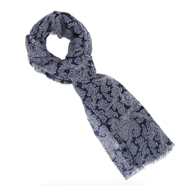 Echarpe Breuer gris anthracite à bordure bleu marine en laine