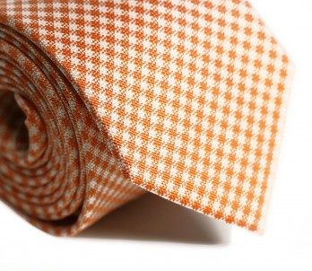 Orange Gingham Check Tie - Vichy
