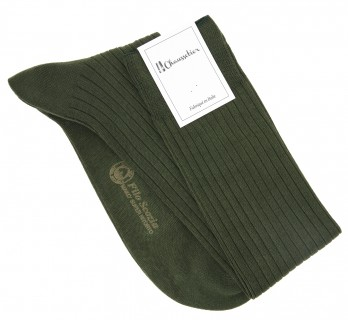 Scottish lisle thread knee socks in khaki