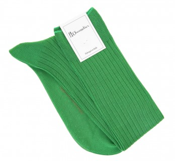 cotton lisle knee socks in green