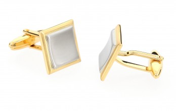 Gold & silver square cufflinks - Vienna