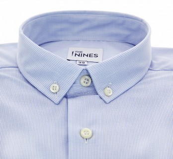 Regular Fit Light Blue with Small Check Small Buttoned Collar Shirt