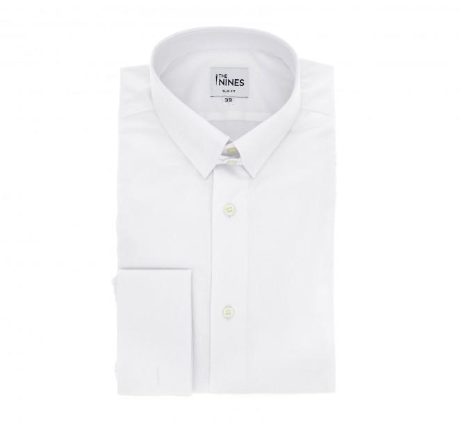 Slim Fit White Poplin Tab Collar Double Cuff Shirt