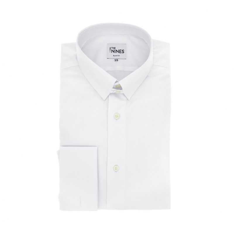 Slim Fit White Poplin Tab Collar French Cuff Shirt