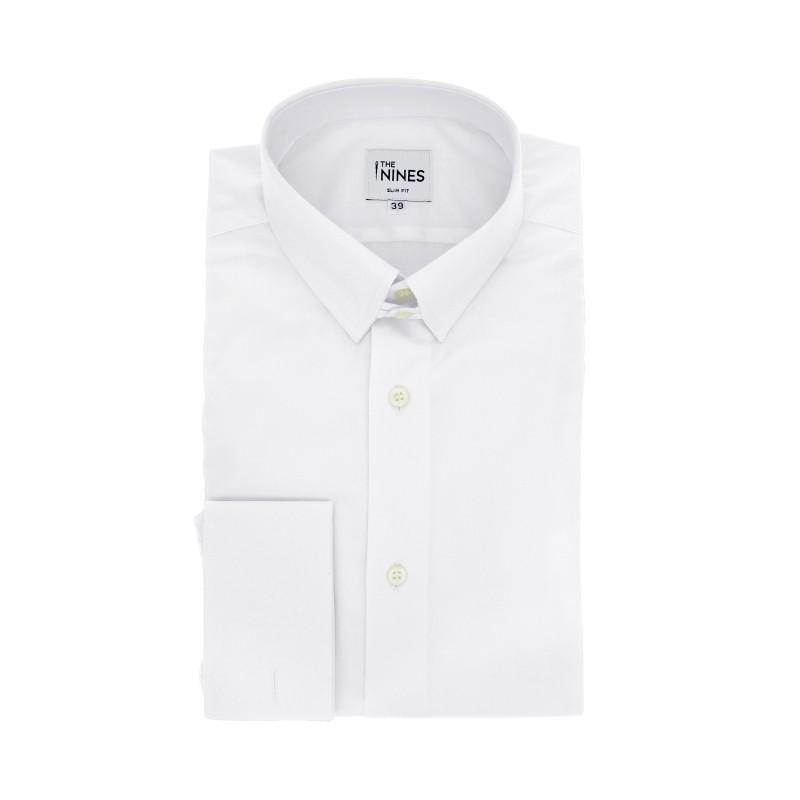 Slim Fit White Poplin Tab Collar French Cuff Shirt