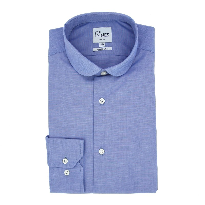 Slim Fit Blue End-On-End Club Collar Shirt