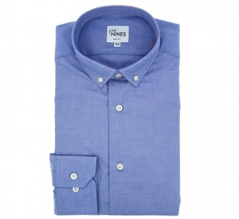 Slim Fit Blue End-On-End Small Buttoned Collar Shirt