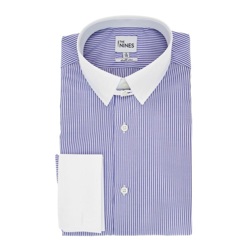 Regular Fit Blue Stripes Tab Collar Double Cuff Shirt