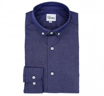 Regular Fit Chambray Small Buttoned Collar Shirt