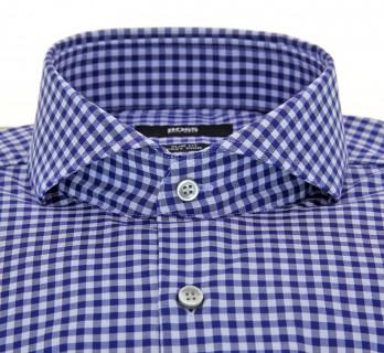 Chemise Hugo Boss bleu à carreaux col italien ouvert poignets simples coupe slim