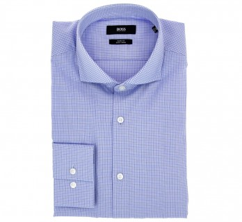 Slim Fit Blue with Small Check Cutaway Collar Shirt by Hugo Boss