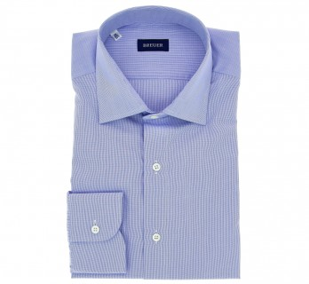 Slim Fit Blue Poplin with Small Check Classic Collar Shirt by Breuer