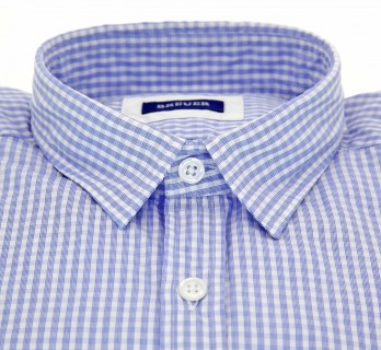 Slim Fit White Poplin with Blue Check Classic Collar Shirt by Breuer