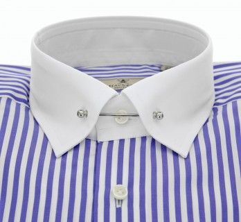 Slim Fit Navy Blue and White Stripes Pin Collar Shirt by Hackett