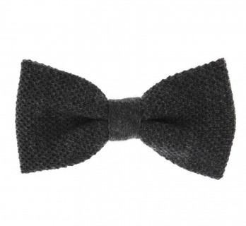 Anthracite Grey Knitted Wool Bow Tie - Legnano