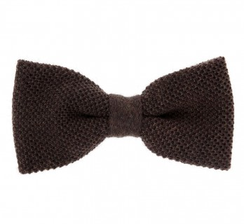 Chocolate Knitted Wool Bowtie - Legnano