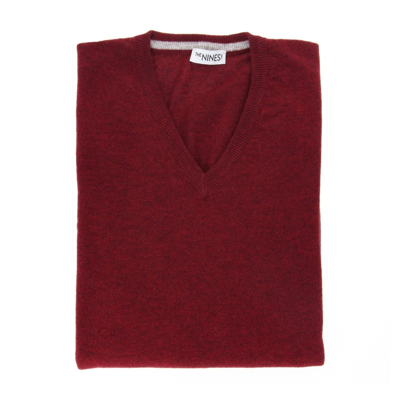 Burgundy V-Neck Lambswool Sweater